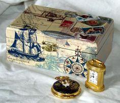 joyero hombre color beig travel  madera,papel de arroz,pinturas acrilicas decoupage