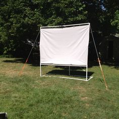 DIY backyard movie screen- worked like a charm! So excited to do weekend movies!