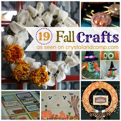 19-fall-craft-ideas-I pulled these ideas together from the submissions other bloggers have shared each week on The Mommy Club Party (which is hosted here on Crystal & Co., every Wednesday) as well as some of my personal favorite Fall crafts that I have shared with you guys from years past.Ready to see some awesome ideas that will have you running to the craft store for supplies?