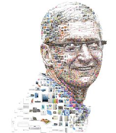 Mosaic portrait of Tim Cook made out of Apple products lunched after Steve Jobs passing. Created for a big news magazine in 2012. Not published.