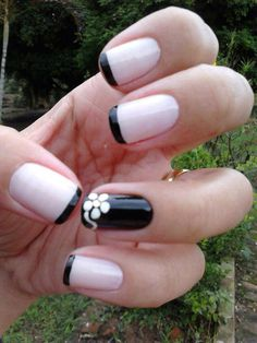 Black French manicure with flower