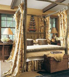 beauti log, bed frames, log bed, rustic cabin curtains, canopy beds, rustic beds, castl pine, bedroom, canopies