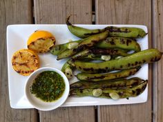 Grilled Fava Beans with Chimichurri