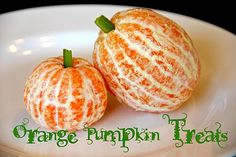 Peeled oranges with celery stems. Simple and cute. #Halloween #treats