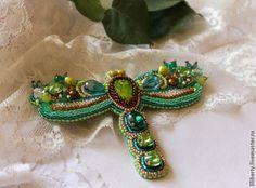 Embroidered brooch dragonfly bead - Fair Masters - handmade, handmade