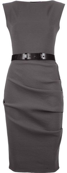 Charcoal Grey Sheath Dress. A simple dress in a dark neutral shade is a must have for any work or presentation wardrobe. You'll look sophisticated and authoritative in this dress, especially with a simple accessory like the black belt. For traditional presentations or meetings, layer a basic black blazer to look even more professional.