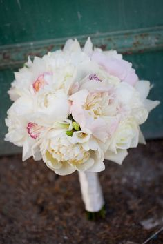white and blush peonies and garden roses // wedding bouquet