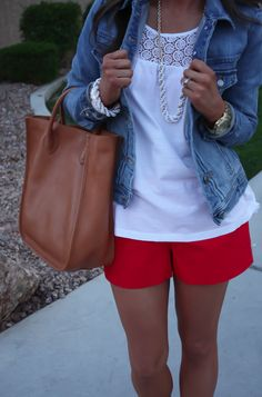 red and white outfit, red shorts outfit, j crew outfits, jean jackets, red tank white shorts, denim jacket