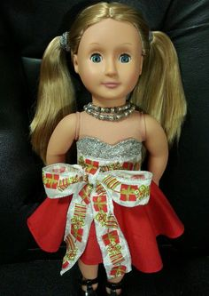 American Girl & 18 inch doll SPARKLE Christmas Party Twirl Dress - SALE