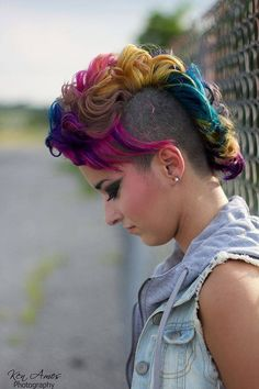 Pink, purple, yellow, and blue wavy mohawk!!!  How cool is this???