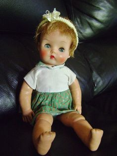 """VINTAGE 1950's Old HORSMAN Ruthie? 15"""" RUBBER or MAGIC SKIN Baby Doll SleepEyes"""