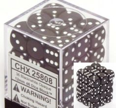 Black Opaque Dice 12mm D6 Set of 36 by Alliance Games. $6.84. 12mm Dice are smaller than the standard 16mm dice. 36 Dice in clear box. 6 Sided Dice. Black Opaque Dice 12mm D6 Set of 36CHX25808 Black Opaque Dice 12mm D6 Set of 36 by Chessex12mm Dice are smaller than the standard 16mm dice6 Sided Dice36 Dice in clear box3.2 ounces
