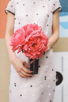coral charm peony bouquet, photo by Lara Hotz http://ruffledblog.com/sun-studios-australia-wedding #weddingbouquet #flowers