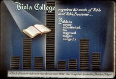 """A 1950s Biola ad. It was true then and it's true now: """"Biola students take more than twice as much Bible than is required by similar Christian colleges."""""""
