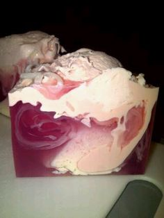 Marshmallow Queen Soapcake, created with melt and pour soap and 3 different fragrances. Just delicious!
