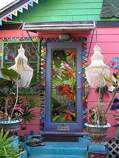 Door to the the magical cottage and studio of Todd Ramquist and Kiaralinda in Safety Harbor, Florida