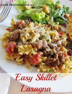 The Country Cook: Garfield's Favorite Lasagna and Easy Skillet Lasagna