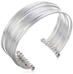 Sterling Silver Polished Multi-Stacked Bangle Cuff Bracelet