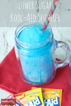 ♥Easy KOOL-AID Slushies!   Ingredients 2 cups ice water 1 packet KOOL-AID drink mix (use your favorite flavor) ½ cup sugar 4 cups or 1 full tray of ice cubes  Instructions 1. Put all of the ingredients into your blender. Blend and serve.