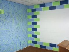 Easy way to decorate a room with block walls.