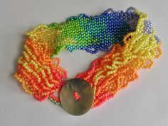 Multi Color Wave Ombre Bracelet With Pearl Button