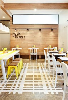 #restaurant #light_colors #easy_design #painted_floor #renovation