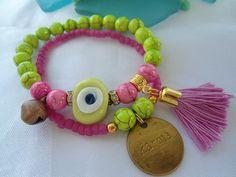 SALE GYPSY'S KARMA Bracelet Evil eye Amulet bracelet by Nezihe1, $18.00