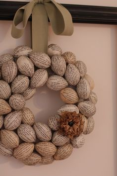 wreath made from plastic eggs covered with old print