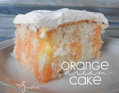 Orange Dream Cake: My 3 Monsters Jello, pudding, milk, coolwhip