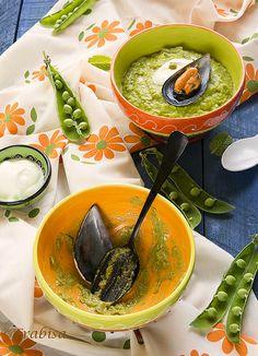 Crema de Guisantes con Mejillones de Galicia