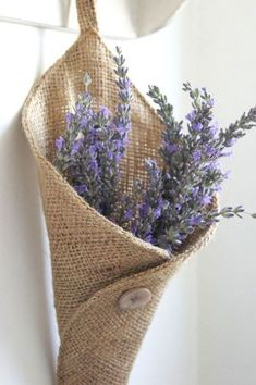 decor, idea, craft, burlap flowers, hanging flowers, front doors, dried flowers, wall pockets, lavend