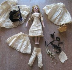 Antique 9 French Twill Wood Body Bare Feet Child Fashion Doll from valeriezakantiquescollectables on Ruby Lane