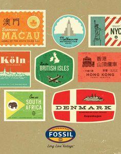 Vintage Fossil Travel Sticker Poster