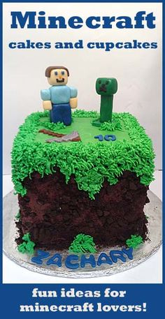 Ideas for Minecraft themed Cakes and Cupcakes- how to make fondant here.