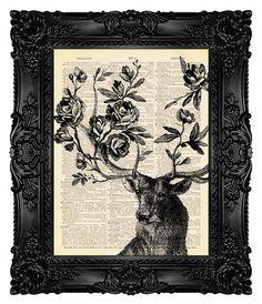 Deer Print Deer gift Deer wall decor Deer painting Deer antler decor, Geek, Cool, Dictionary Art Print, Book Art Print - Spring is Here 15