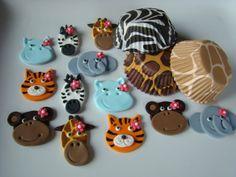 Edible Fondant Cupcake Toppers and Animal Print Liners  Girl Safari Animals Package