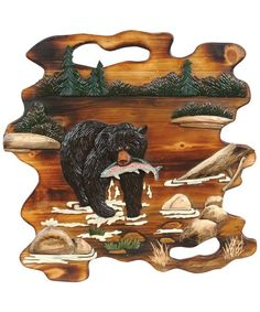 Bear Wall Hanging   Warm, natural tones enhance a black bear scene on the handcrafted solid pine intarsia Bear Fishing Wood Wall Hanging