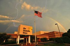 Double rainbow and Lightning! lightning, double rainbow, huntsvill holiday, mondays, buildings, amaz, alabama, doubl rainbow, evenings