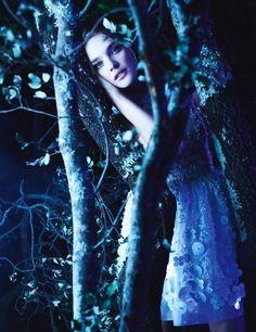 model, blue, natalia vodianova, couture, nataliavodianova, forest, la coutur, march 2013, karl lagerfeld