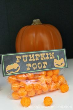 Pumpkin Poop Bag Topper.  Adorable and easy for a party or classroom!