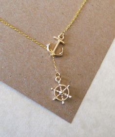 Gold Nautical Lariat Necklace with Anchor and Steering Wheel