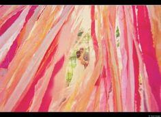 ceremony backdrop, wedding ideas, barn weddings, wedding colors, pink, oranges, haut color, hang streamer, parti idea