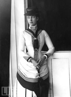 Photograph of Alexandra of Denmark. It was taken in 1884, while she was still Princess of Wales. royalti, costum, fashion, 1880s, dresses, suit, queen alexandra, princesses, sailor