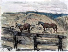Broodmares 2 - mixed media on paper
