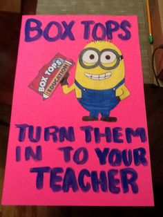 Great looking Box Tops poster! Put near Bus stop or in the cafeteria. Box Tops for Education.