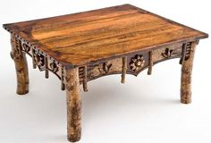 Natural Birch Bark Furniture - Artistic Coffee Table - Item #CT03071 - Custom Sizes Available