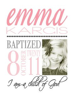 Cute subway art to display at baptism, then in her bedroom!
