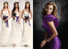 Purple Wedding Bridal Gown and White Bridesmaid Dresses with Purple Ribbon Belt & Bow