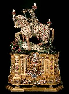 Statuette of St George   (gold, enamel, silver-gilt, diamonds, rubies,   emeralds, opals, agate, chalcedony, rock crystal   and other precious stones, pearls;   height 50 cm); Munich, 1586/97