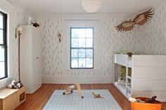 DIY Boreal Forest stencil (IKEA KURA reversible bed/bunkbed painted all white)